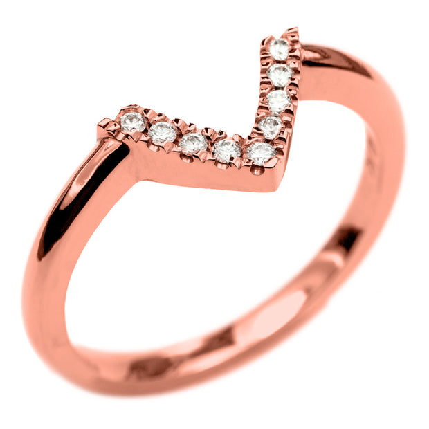 14k Rose Gold Diamond Chevron Band No. 01 - Point No Point Studio - 3