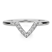 14k White Gold Diamond Chevron Band No. 01 - Point No Point Studio - 1