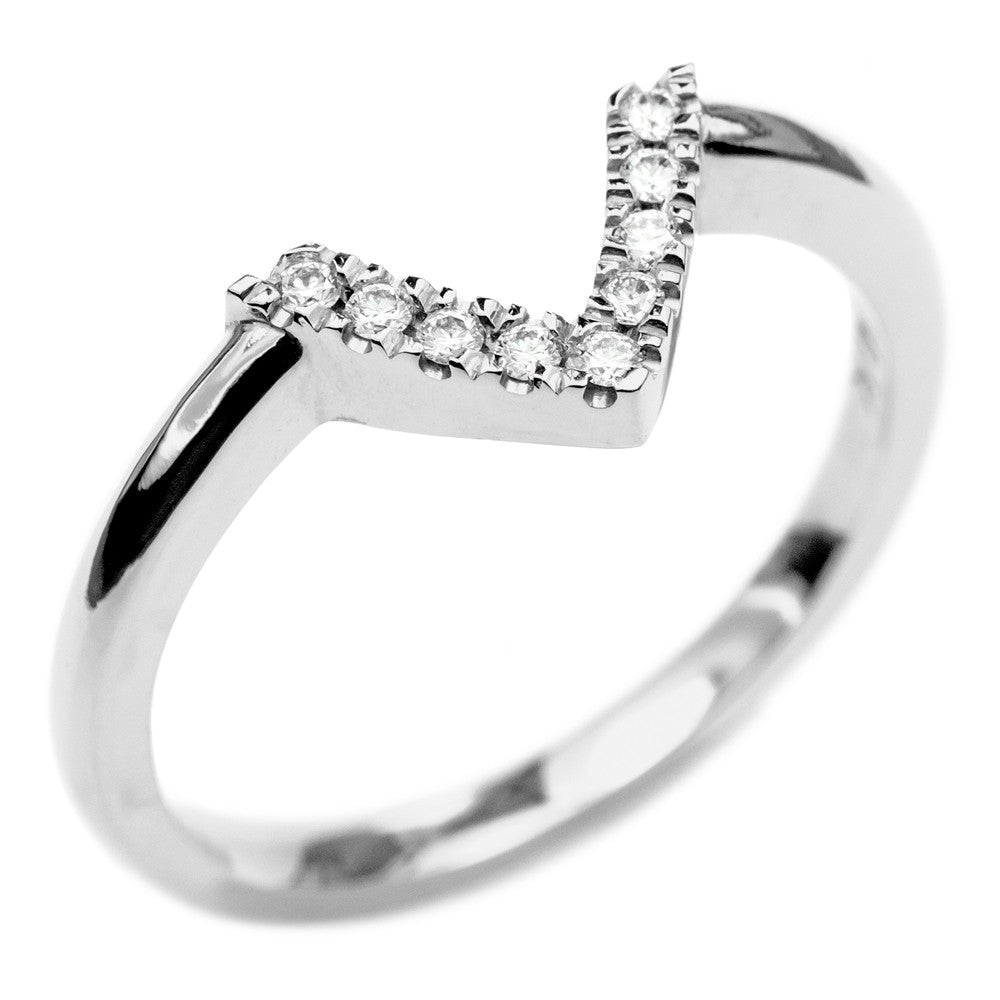 14k White Gold Diamond Chevron Band No. 01 - Point No Point Studio - 3