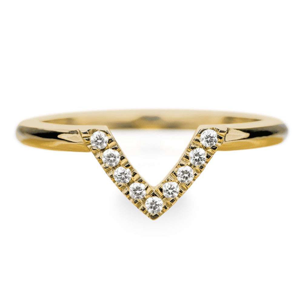 14k Yellow Gold Diamond Chevron Band No. 01 - Point No Point Studio - 1
