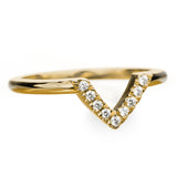 14k Yellow Gold Diamond Chevron Band No. 01 - Point No Point Studio - 2
