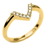 14k Yellow Gold Diamond Chevron Band No. 01 - Point No Point Studio - 4