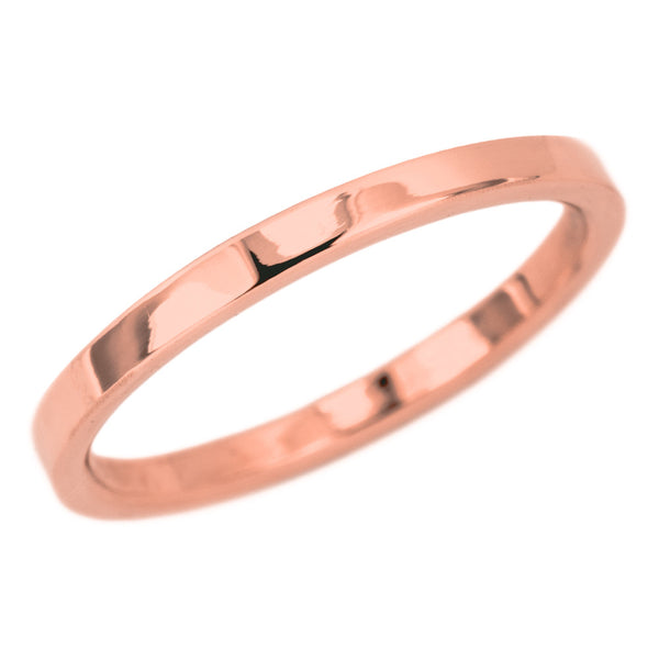 2mm Wide x 1.5mm Thick,14k Rose Gold Rectagle Wedding Band, Polished - Point No Point Studio - 1