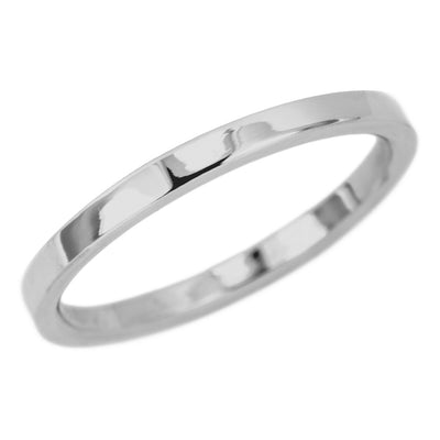 2mm Wide x 1.5 mm Thick,14k White Gold Rectangle Wedding Band, Polished - Point No Point Studio - 1