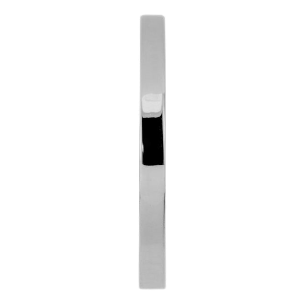 2mm Wide x 1.5 mm Thick,14k White Gold Rectangle Wedding Band, Polished - Point No Point Studio - 2