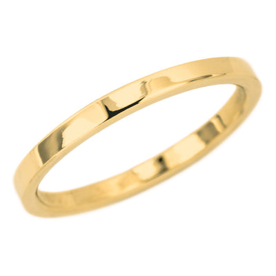 2mm Wide x 1.5mm Thick, 14k Yellow Gold Rectangle Wedding Band, Polished - Point No Point Studio - 1