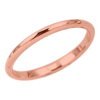 2mm Wide x 1.5mm Thick, 14k Rose Gold Half Round Wedding Band, Polished - Point No Point Studio - 1