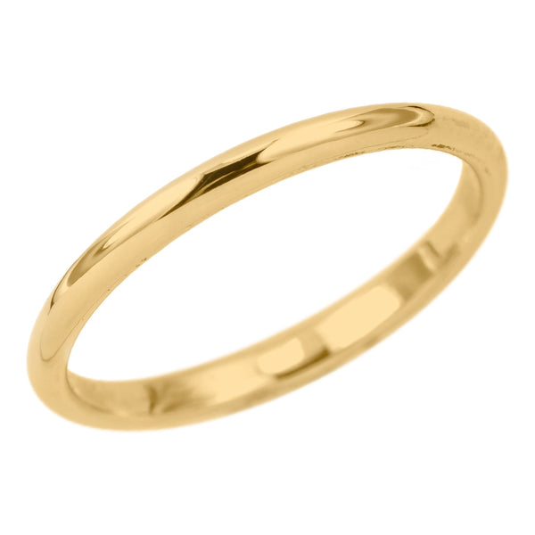 2mm Wide x 1.5mm Thick, 14k Yellow Gold Half Round Wedding Band, Polished - Point No Point Studio - 1