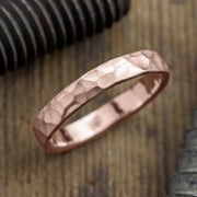 4mm 14k Rose Gold Mens Wedding Band, Hammered Matte - Point No Point Studio - 1