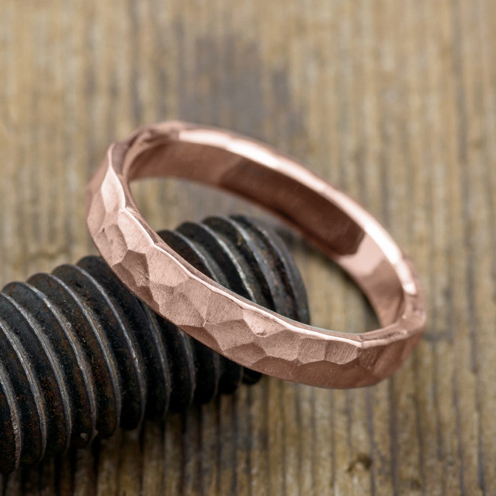 4mm 14k Rose Gold Mens Wedding Band, Hammered Matte - Point No Point Studio - 3
