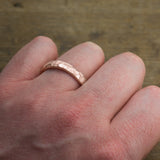 4mm 14k Rose Gold Mens Wedding Band, Hammered Matte - Point No Point Studio - 4
