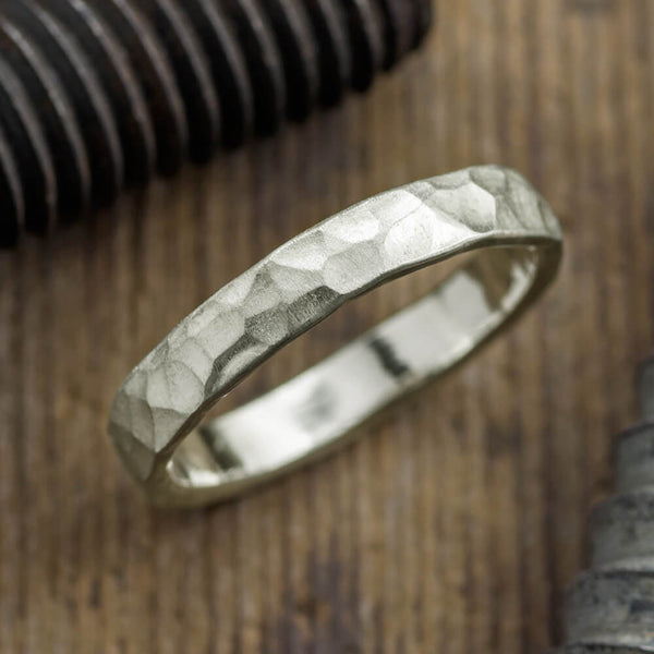 4mm 14k White Gold Mens Wedding Ring, Hammered Matte - Point No Point Studio - 1