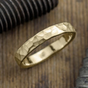 4mm 14k Yellow Gold Mens Wedding Ring, Hammered - Point No Point Studio - 1