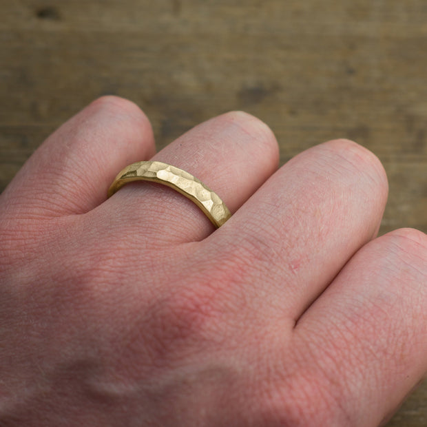 4mm 14k Yellow Gold Mens Wedding Ring, Hammered - Point No Point Studio - 4