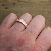 6mm 14k Rose Gold Mens Wedding Band, Hammered Matte - Point No Point Studio - 4
