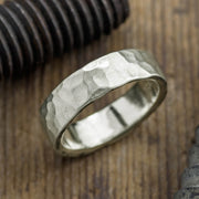 6mm 14k White Gold Mens Wedding Band, Hammered - Point No Point Studio - 1