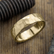 6mm 14k Yellow Gold Mens Wedding Band, Hammered Matte - Point No Point Studio - 1