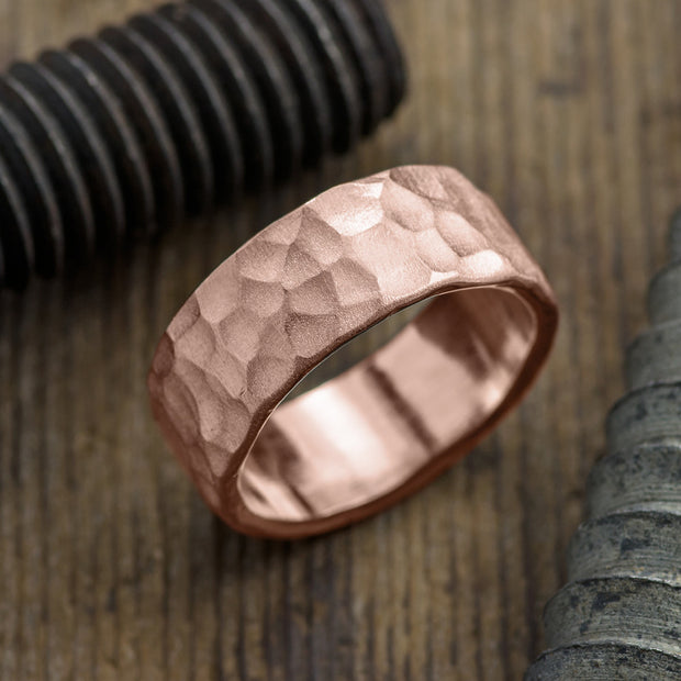 8mm 14k Rose Gold Mens Wedding Band, Hammered Matte - Point No Point Studio - 1