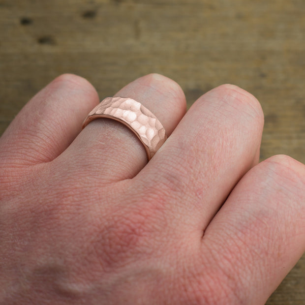 8mm 14k Rose Gold Mens Wedding Band, Hammered Matte - Point No Point Studio - 4