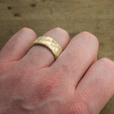 8mm 14k Yellow Gold Mens Wedding Band, Hammered Matte - Point No Point Studio - 4