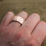 10mm 14k Rose Gold Mens Wedding Band, Hammered Matte - Point No Point Studio - 4