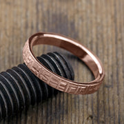 4mm 14k Rose Gold Mens Wedding Band, Textured - Point No Point Studio - 3