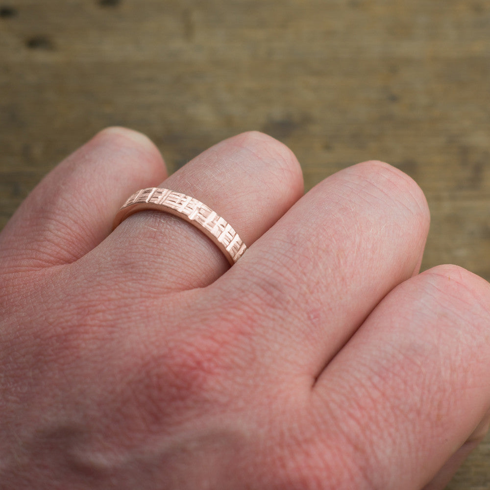 4mm 14k Rose Gold Mens Wedding Band, Textured – Point No Point Studio