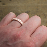 4mm 14k Rose Gold Mens Wedding Band, Textured - Point No Point Studio - 4