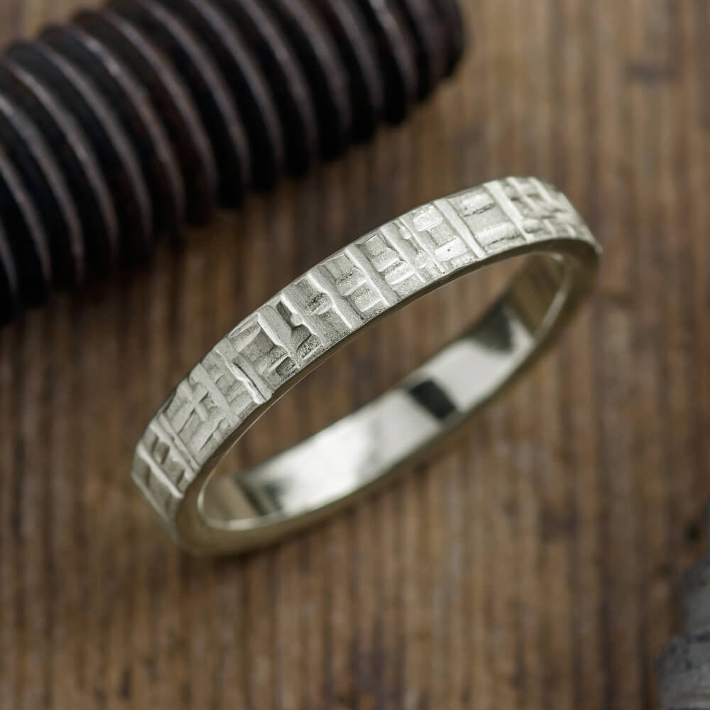 4mm 14k White Gold Mens Wedding Band, Textured Matte - Point No Point Studio - 1