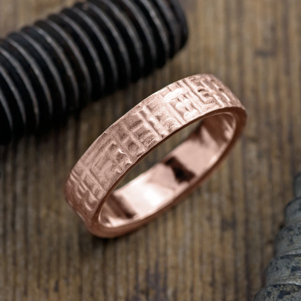 6mm 14k Rose Gold Mens Wedding Band, Textured Matte - Point No Point Studio - 1