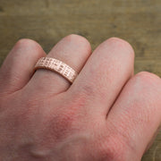 6mm 14k Rose Gold Mens Wedding Band, Textured Matte - Point No Point Studio - 4