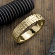 6mm 14k Yellow Gold Mens Wedding Band, Textured Matte - Point No Point Studio - 1