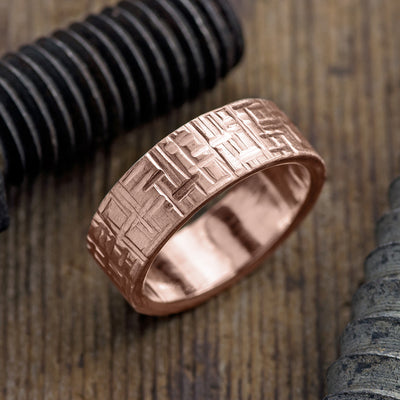 8mm 14k Rose Gold Mens Wedding Band, Textured Matte - Point No Point Studio - 1