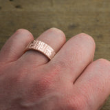 8mm 14k Rose Gold Mens Wedding Band, Textured Matte - Point No Point Studio - 4