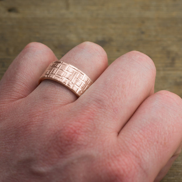 10mm 14k Rose Gold Mens Wedding Band, Textured Matte - Point No Point Studio - 4