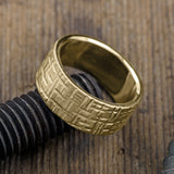 10mm 14k Yellow Gold Mens Wedding Band, Textured Matte - Point No Point Studio - 3