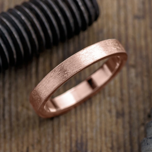 4mm 14k Rose Gold Mens Wedding Ring, Brushed Matte - Point No Point Studio - 1
