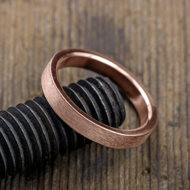 4mm 14k Rose Gold Mens Wedding Ring, Brushed Matte - Point No Point Studio - 3