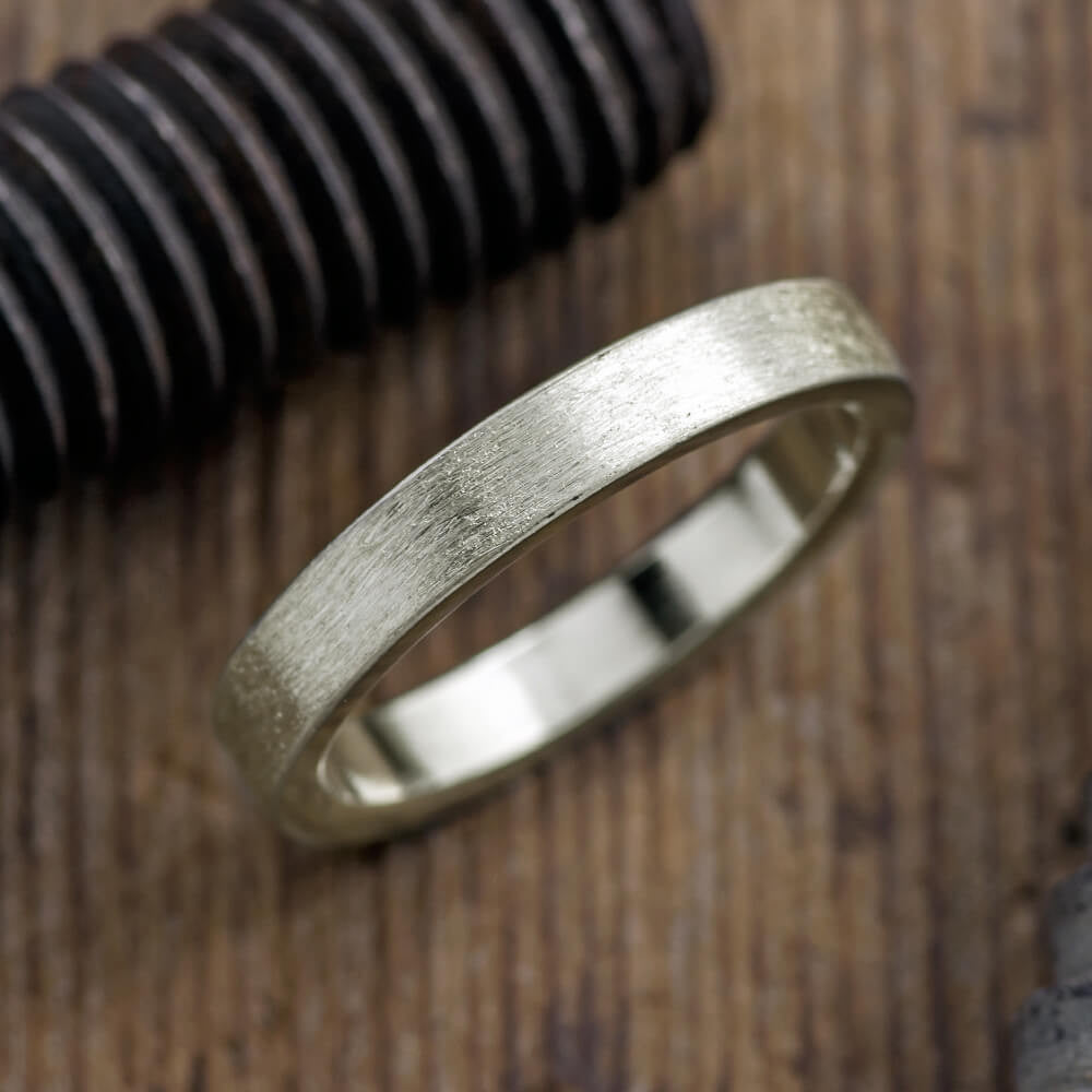 4mm 14k White Gold Brushed Mens Wedding Band - Point No Point Studio - 1