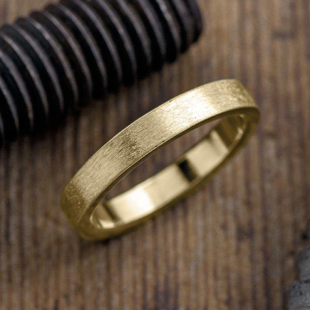 4mm 14k Yellow Gold Mens Wedding Ring, Matte Brushed - Point No Point Studio - 1