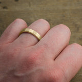 4mm 14k Yellow Gold Mens Wedding Ring, Matte Brushed - Point No Point Studio - 4