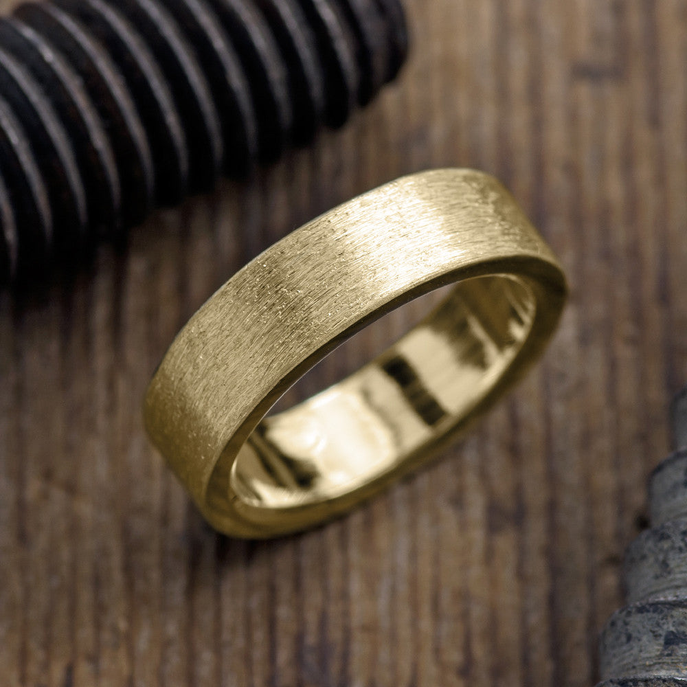 Brushed Matte 14k Yellow Gold Mens Wedding Band 6mm Point No