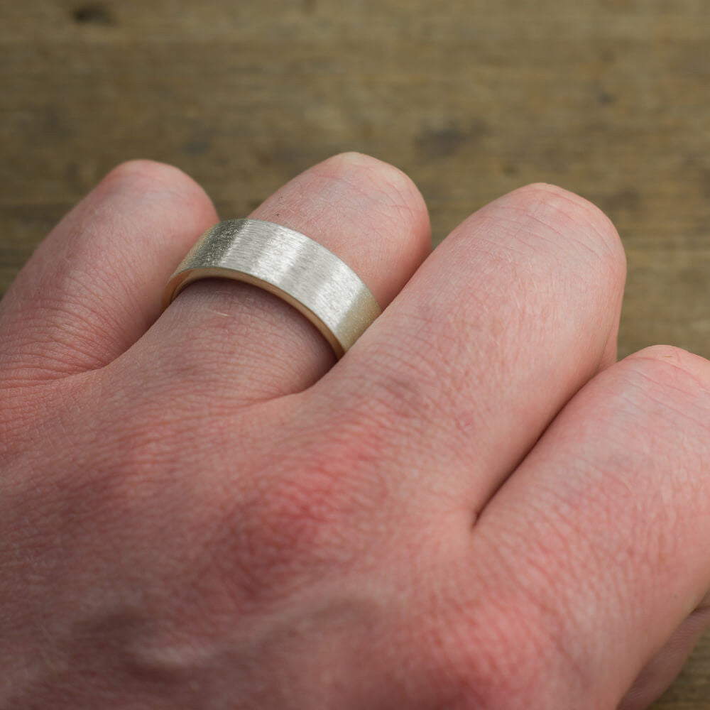 8mm 14k White Gold Mens Wedding Band, Brushed Matte – Point No Point ...
