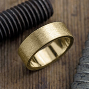 8mm 14k Yellow Gold Mens Wedding Ring, Matte Brushed - Point No Point Studio - 1