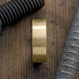 8mm 14k Yellow Gold Mens Wedding Ring, Matte Brushed - Point No Point Studio - 2