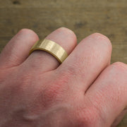 8mm 14k Yellow Gold Mens Wedding Ring, Matte Brushed - Point No Point Studio - 4