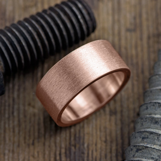 10mm 14k Rose Gold Mens Wedding Ring, Brushed Matte - Point No Point Studio - 1