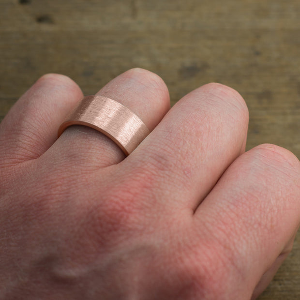 10mm 14k Rose Gold Mens Wedding Ring, Brushed Matte - Point No Point Studio - 4
