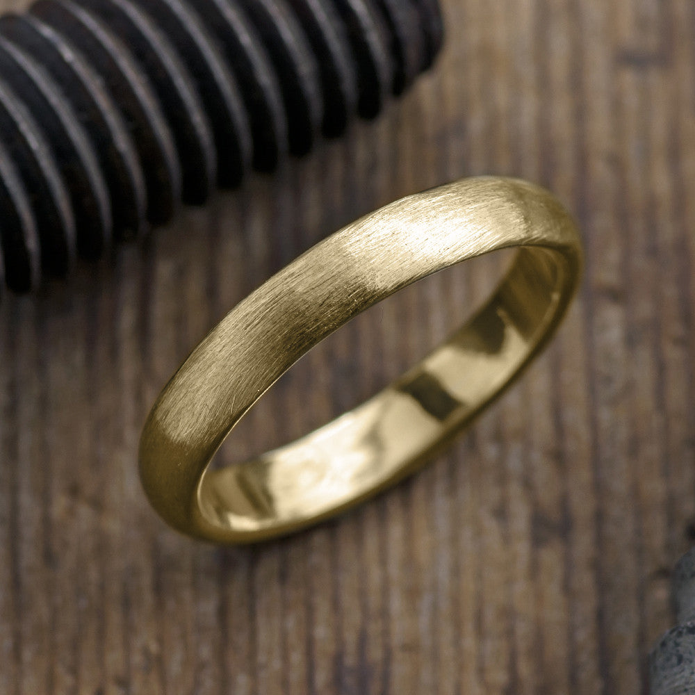 Mens 14k Yellow Gold Ring Brushed Matte Half Round 4mm Point No