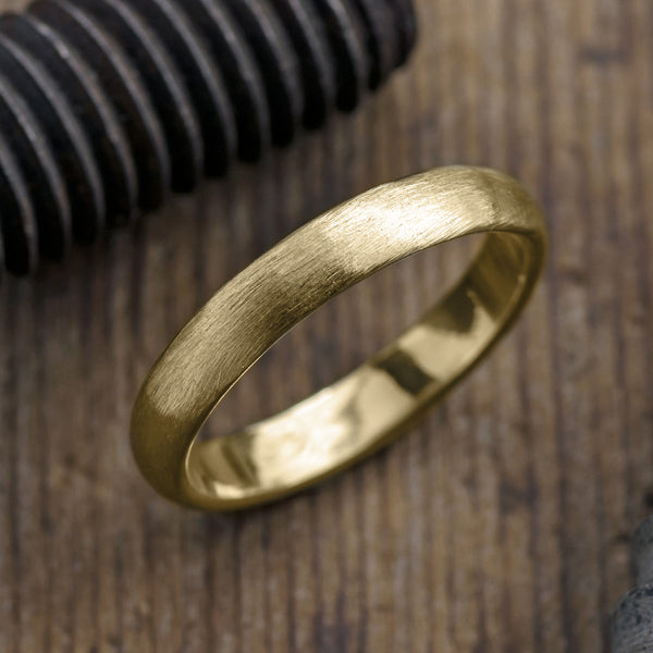 4mm 14k Yellow Gold Mens Wedding Band, Half Round Brushed Matte - Point No Point Studio - 1
